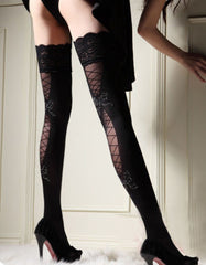 Stockings - Opaque Corset back with Silver Bow