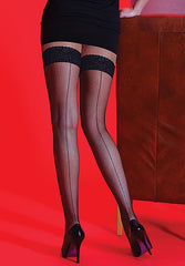 Silky Scarlet Back Seamed Lace Top Fishnet Stay Ups
