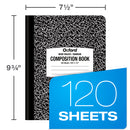 "Oxford Composition Notebook 9-3/4"" x 7-1/2"", Wide Ruled, Black Marble Cover, 120 Sheets, Case Pack of 48, Ideal for Bulk Buyers"