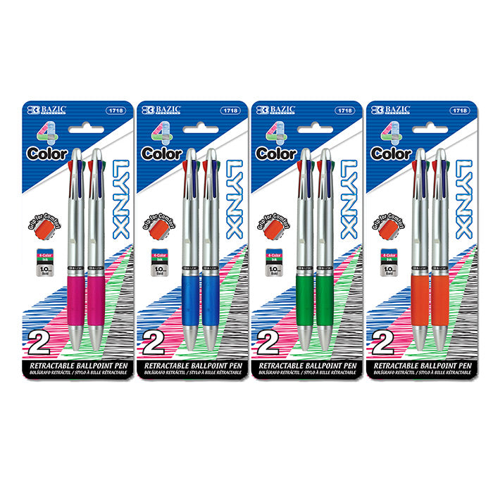 Silver Top 4-Color Pen w/ Cushion Grip (2/Pack)