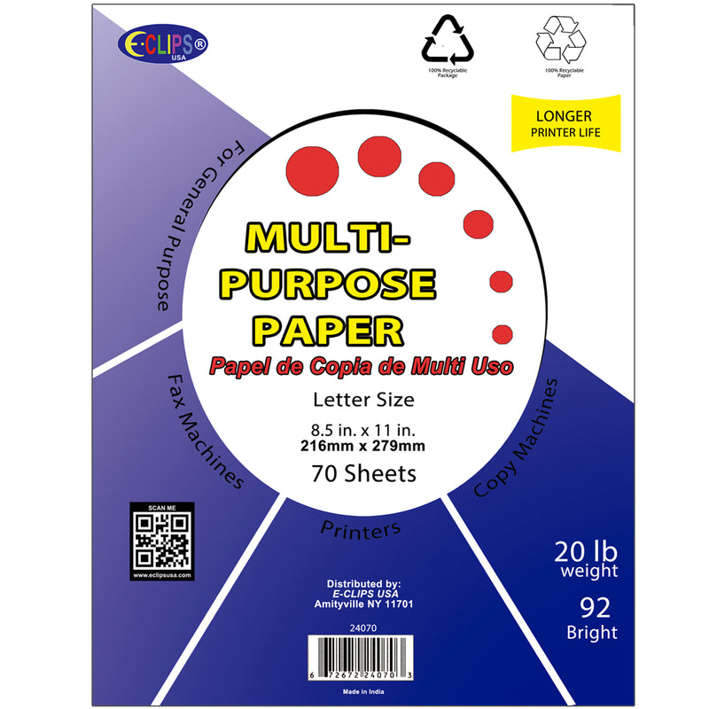 Multi-Purpose Paper, 70 sheets , Case Pack of 48, Ideal for Bulk Buyers, Retailers and Wholesalers