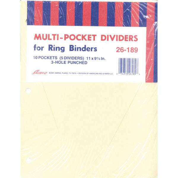 AMPAD Pocket Dividers, 5 pk, 10 Pockets, Case Pack of 20 , Ideal for Bulk Buyers