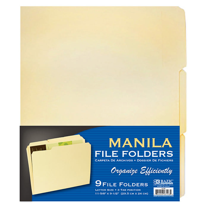 1/3 Cut Letter Size Manila File Folder (9/Pack)