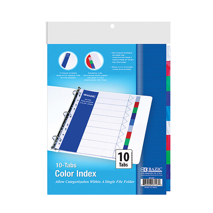 3-Ring Binder Dividers w/ 10-Color Tabs