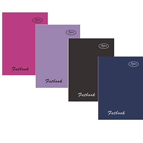 "Poly fat book, 5.5""x 4"", 200 sheets, hot pink, lilac, black, navy, Case Pack of 48,  Ideal for Bulk Buyers"