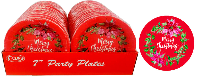 "Christmas Wreath Paper Plates, 7"", 10 pk, Case Pack of 36, Ideal for Bulk Buyers"