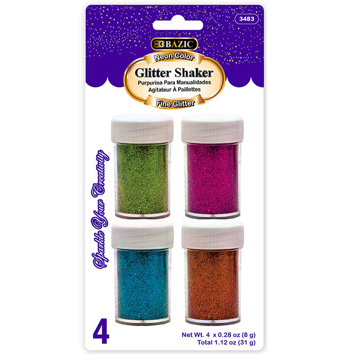8g / 0.28 Oz. 4 Neon Color Glitter Shaker