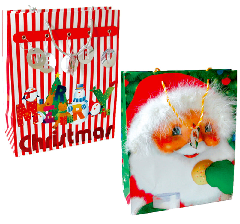 Christmas Glossy 3D Medium Gift bags, Case Pack of 168, Ideal for Bulk Buyers