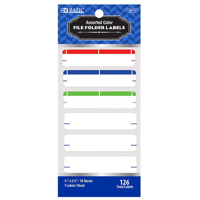 Assorted Color File Folder Label (126/Pack)