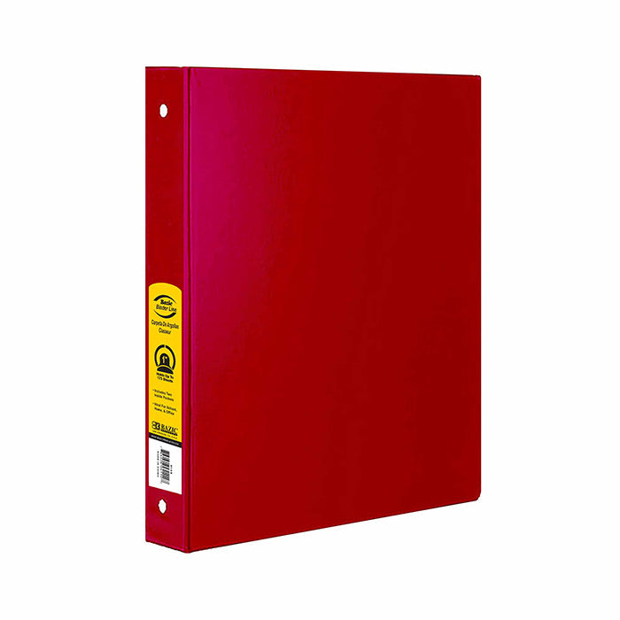 "1"" Red 3-Ring Binder w/ 2-Pockets"
