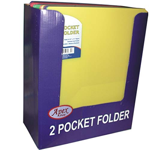 E-Clips 2 Pocket No Holes Poly Neon Folder, Asst Colors in Display, Case Pack of 48, Ideal for Bulk Buyers