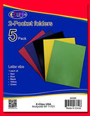 2 Pockets Folder, 5 Pack, Assorted Colors, in Display Case Pack of 48, Ideal for Bulk Buyers