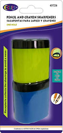 Sharpeners, for Pencils & Crayons, with Large Receptacle, 2 Pk, Asst. Colors, Case Pack of 24, Ideal for Bulk Buyers