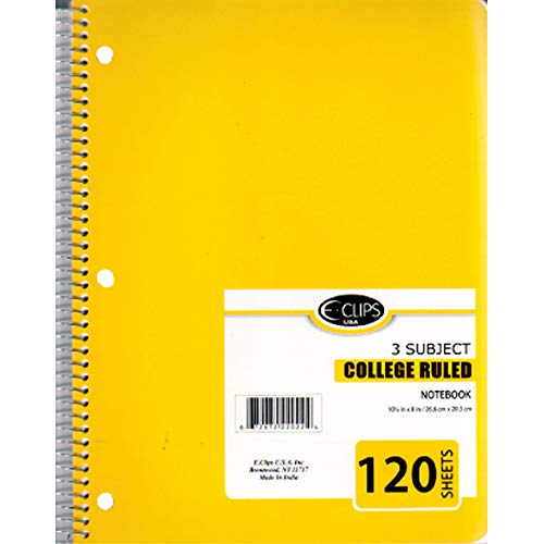 3 Subject Notebook, 120 Sheets, College Ruled, Case Pack of 36, Ideal for Bulk Buyers