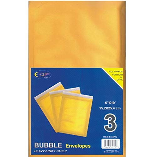 "Bubble Envelope, Peel & Seal, 6""x 10"", 3 pk, Case Pack of 48, Ideal for Bulk Buyers"