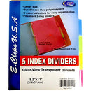 Poly Index Tab Dividers, 5 pk, Asst Color Tabs, Case Pack of 72, Ideal for Bulk Buyers
