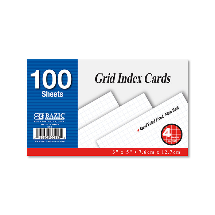"100 Ct. 3"" X 5"" Quad Ruled 4-1"" White Index Card"