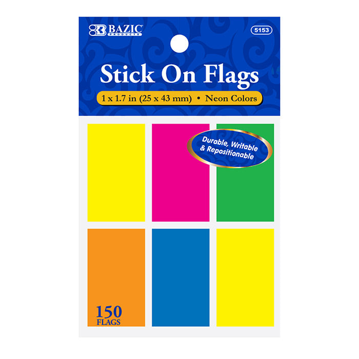 "25 Ct. 1"" X 1.7"" Neon Color Standard Flags (6/Pack)"