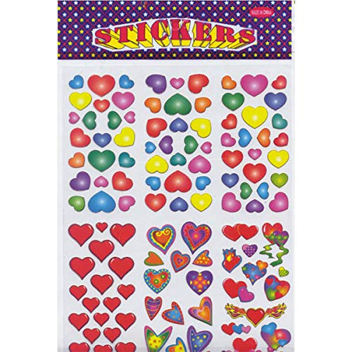 AUKSales Stickers, Hearts Designs, Case Pack of 72, Ideal for Bulk Buyers