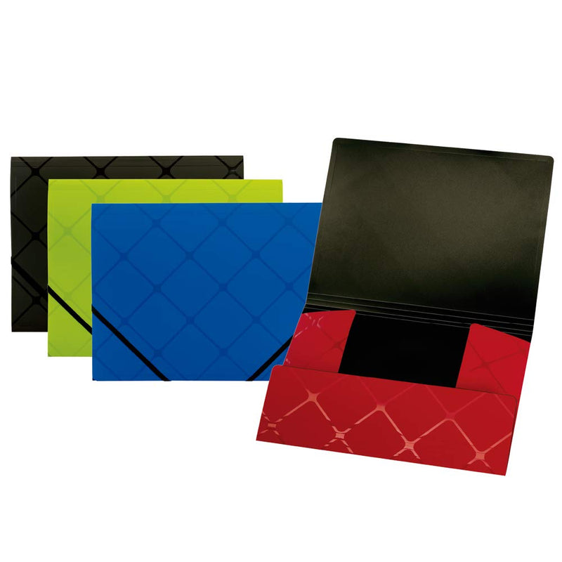 Globe WEIS Tri-fold Folder, Asst.Colors (Red, Black, Lime, Blue), Case Pack of 12, Ideal for Bulk Buyers