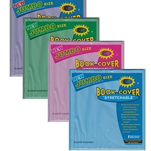 Jumbo Book Cover - Assorted Solid Colors (Pink, Lilac, Blue. Green), Case Pack of 60,
