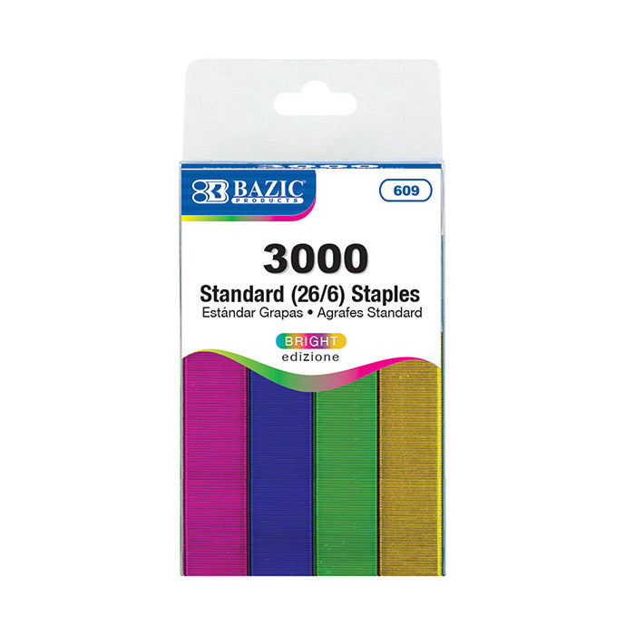3000 Ct. Standard (26/6) Metallic Color Staples