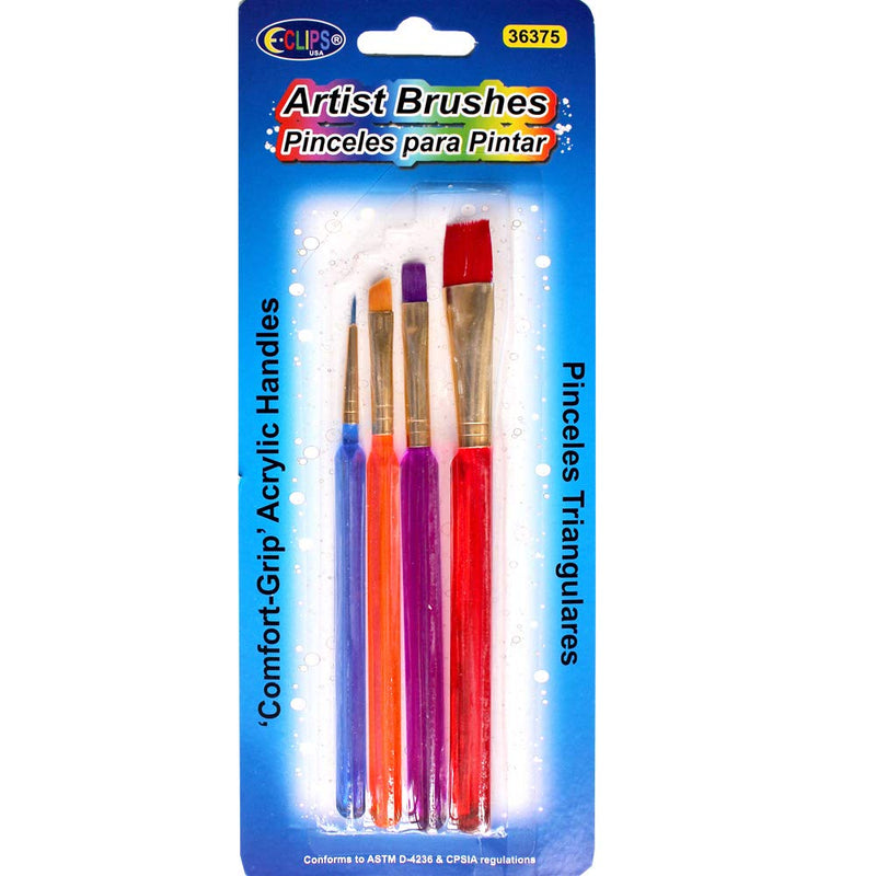 Comfort Grip Artist Brushes with Acrylic Handles (Units per case: 48) , Ideal for Bulk Buyers