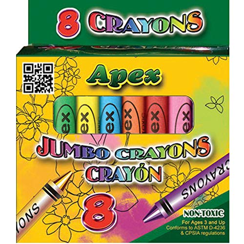 Crayons, Jumbo, 8ct, Boxed, Case Pack of 72, Ideal for Bulk Buyers
