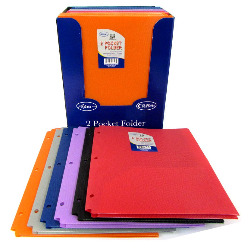Poly Folder, 2 Pocket, Fancy Design, Assorted Colors, 3 Holes, Case Pack of 48, Ideal for Bulk Buyers