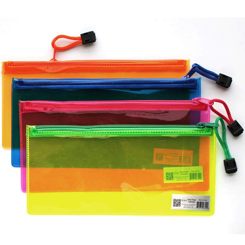 PVC Zipper Pencil Pouch, Assorted Neon Colors, Case Pack of 96, Ideal for Bulk Buyers