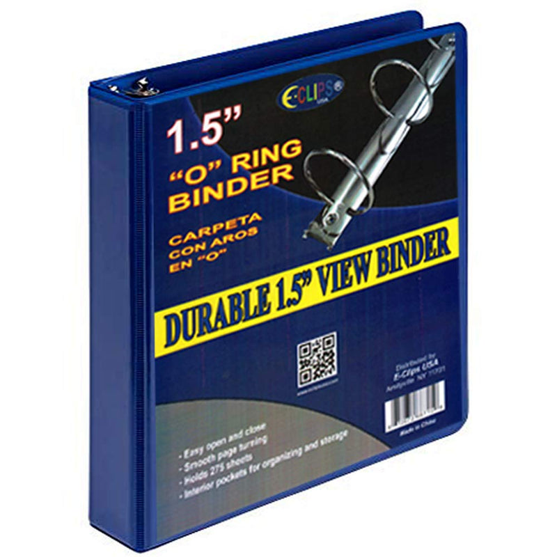 O-Ring Triple View Binder, Case Pack of 24 Units (1.5 Inch, Navy Blue), Ideal for Bulk Buyers