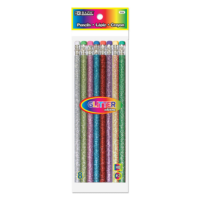 Metallic Glitter Wood Pencil w/ Eraser (8/Pack)