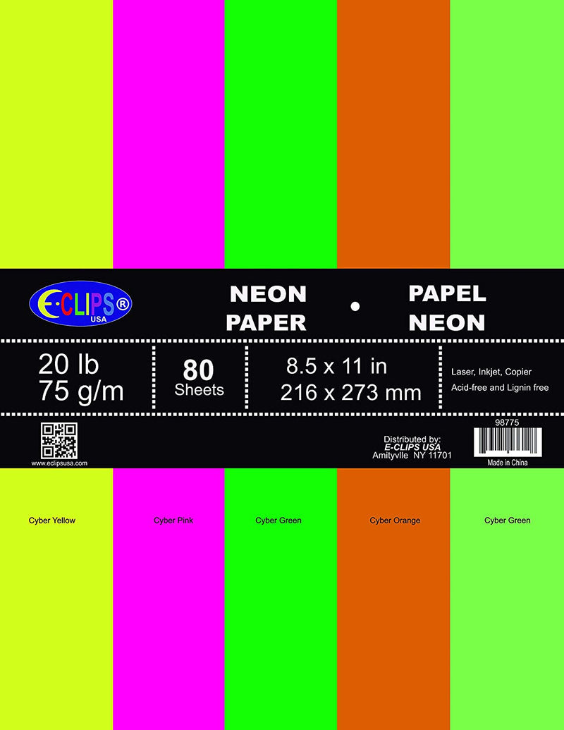 Multi-Purpose paper, 80 sheets, neon colors, Case Pack of 36, Ideal for Bulk Buyers