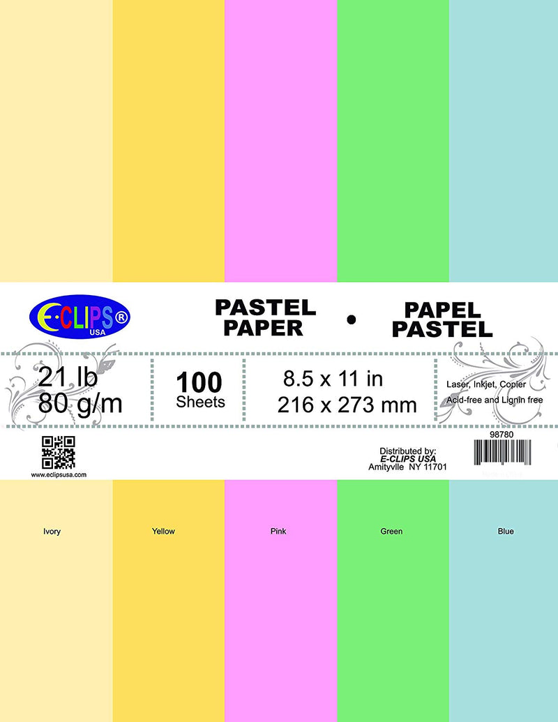 Multi-Purpose paper, 100 sheets, pastel colors, Case Pack of 36, Ideal for Bulk Buyers