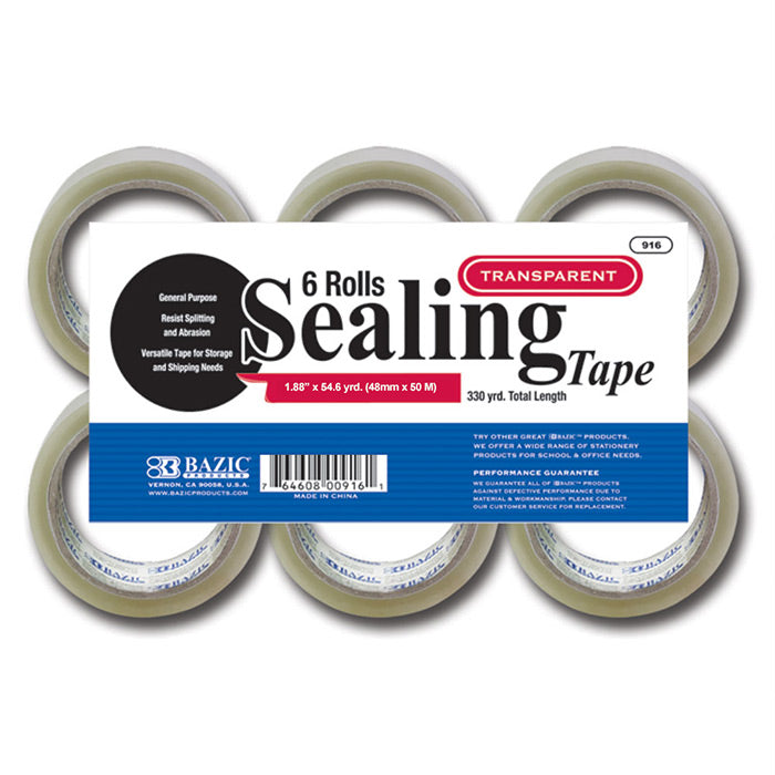 "1.88"" X 54.6 Yards Clear Packing Tape (6/pack)"