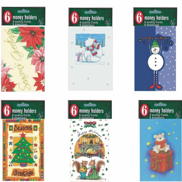 Christmas Money Holder, 6 pack, Case Pack of 60, Ideal for Bulk Buyers