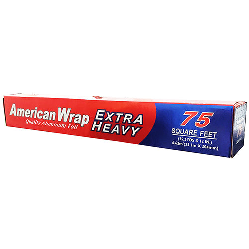 American Wrap, 75 Square Feet Extra Heavy Duty Aluminum Foil Roll, Case Pack of 24, Ideal for Bulk Buyers