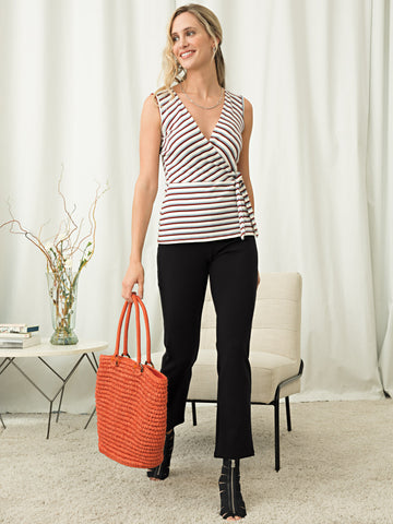 Stripe Sleeveless Wrap Top