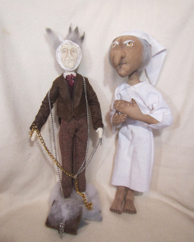 Ebeneezer toy, Christmas toy, Christmas gift, Ebenezer Scrooge doll and Jacob Marley doll, Christmas toy