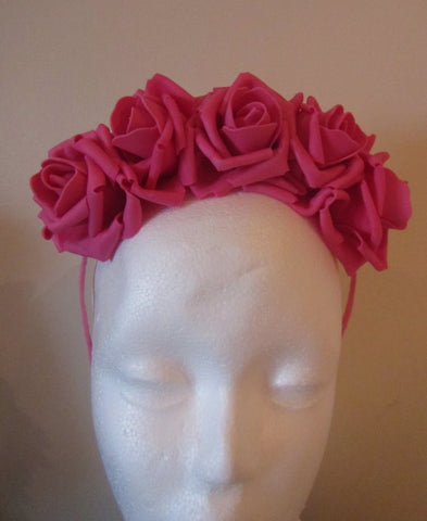 Pink, cream Roses, Flower headband, Hair hoop with freesias. Hair accessories. Flower hair hoop, roses flowers