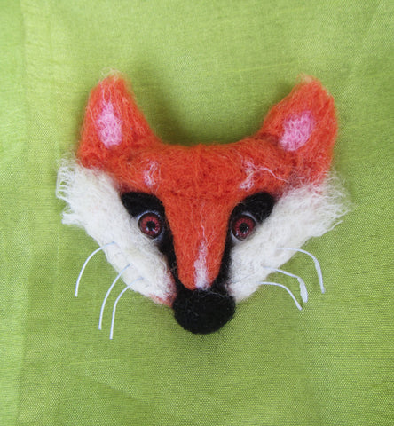 Fox brooch felted, Fox brooch felted, Woolen brooch Fox, Fox booch, Felted brooch animal fox, Fox -2-in-1 brooch-hairclip, Christmas gift