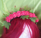 Autumn headband, Hair hoop with Roses. Hair accessories. Flower hair hoop, Autumn flowers, pink Roses. Wedding accessories