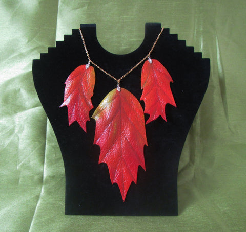 "Leather necklace ""Autumn leaves"""