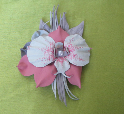 Flower Brooch orchid leather, Cream orchid Brooch leather,  pink orchid Brooch flower, orchid brooch leather, orchid brooch, Wedding brooch