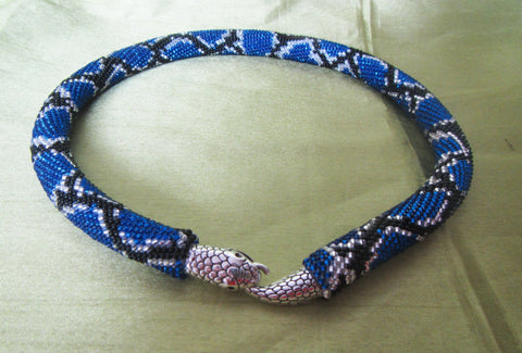 Snake necklace, Blue Snake necklace, Necklace snake skin print, beaded necklace, beadwork, snake jewelry Beaded crochet necklace.