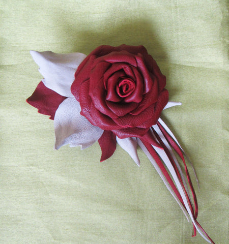 Rose Brooch leather, Flower brooch, Red Roses brooch, Rose Brooch leather, Rose Brooch handmade, Red flower brooch Rose, mother's day gift