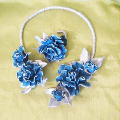 """Blue Rose"" jewellry set leather, ""Snow Blue Roses"" leather Necklace, 'Winter Blue Roses"" necklace and bracelet set"