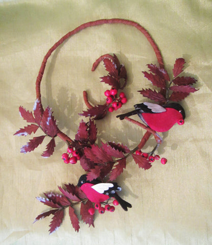 "Leather Necklace ""Winter rowan and bullfinch"" and bracelet, Christmas jewellry set Robin, Robin Necklace, leather rowan bullfinch Necklace"