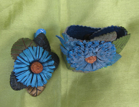 """Blue Cornflower"" jewelry set leather, ""Blue cornflower"" bracelet, Cornflower leather Bracelet and hairclip, hairclip Cornflower"