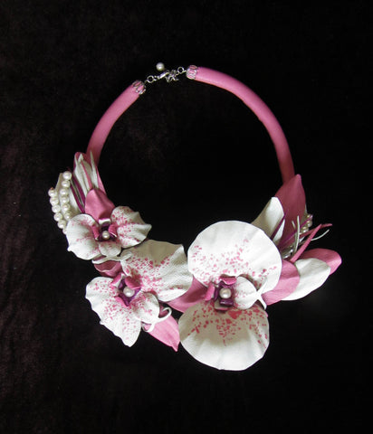 "Wedding necklace ""Pink orchids"", Leather Necklace orchid, Flower necklace, Leather necklace orchid, White orchid Necklace, orchid Necklace, wedding Jewelry, Wedding orchid"